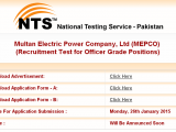 Mepco jobs 2015 nts in Pakistan