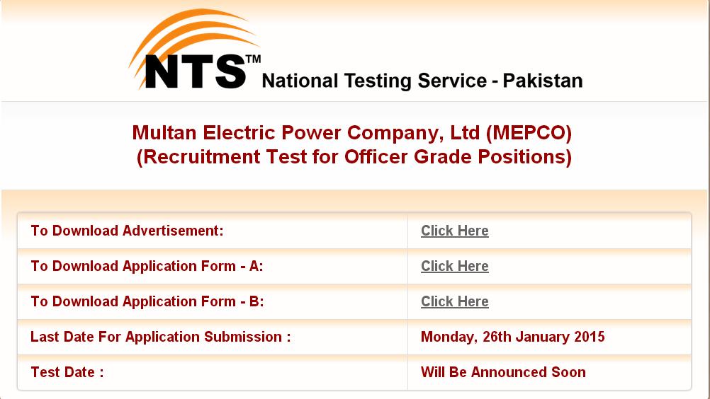 Mepco jobs 2015 nts in Pakistan