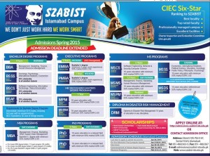 Szabist Islamabad Admissions Spring 2015 Apply Online Form Last Date