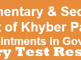 Elementary and Secondary Education KPK Jobs 2018 NTS Test Result SST Educators