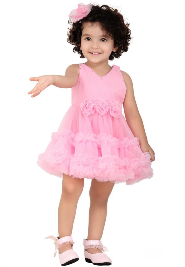 kids pink frocks style