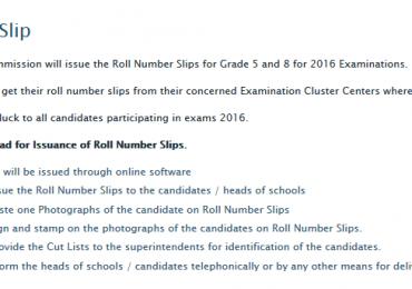 8th Class Roll No Slip 2016 PDF Download