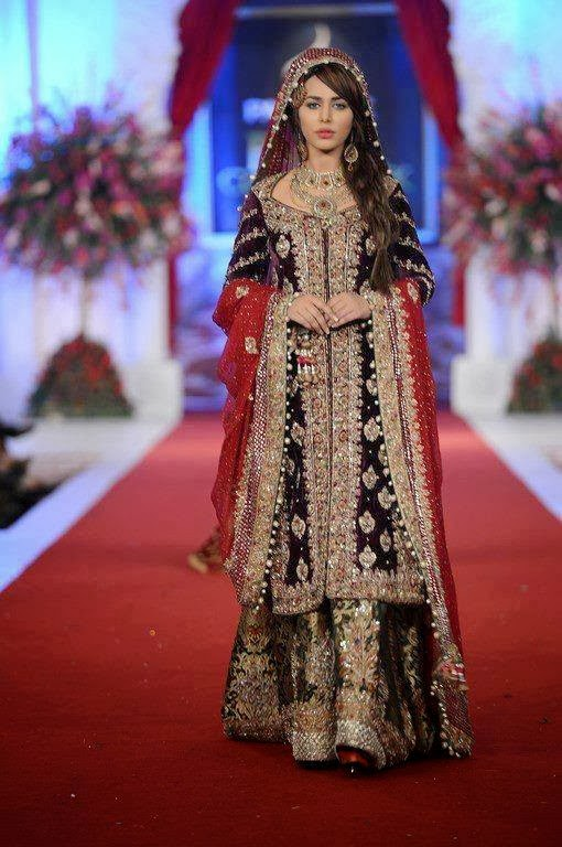 pakistani bridal dresses in red colour 2013
