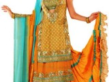 yellow mehndi dresses for bride