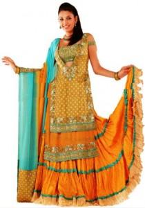 yellow mehndi dresses for bride