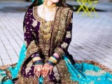 pakistani wedding blue dresses pictures