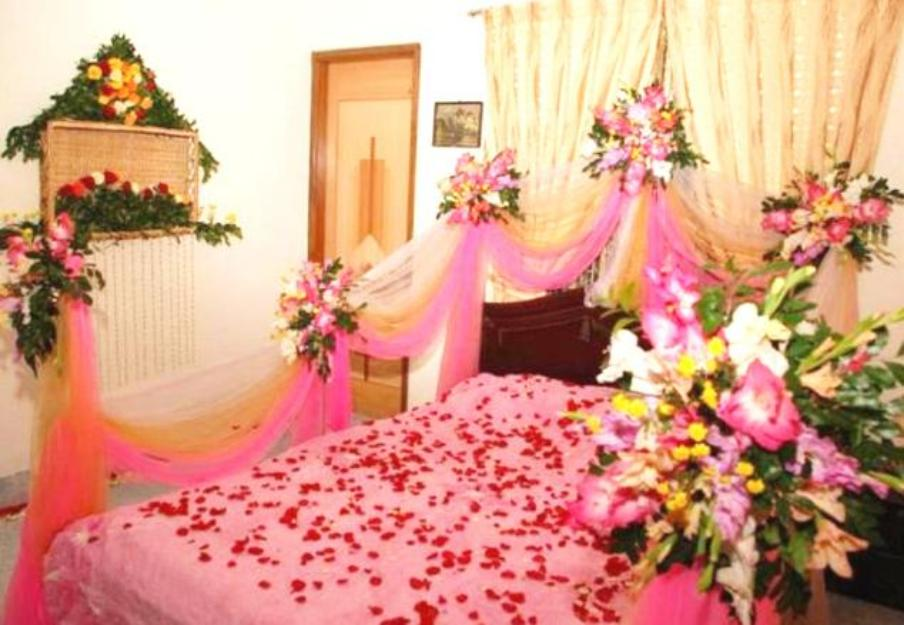 Wedding room decoration ideas in pakistan for bridal for Bed decoration with flowers and balloons