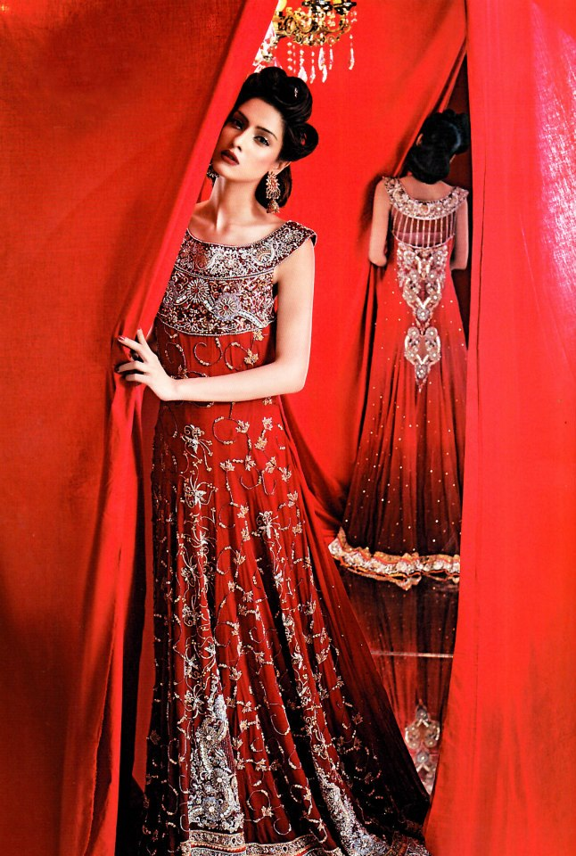Pakistani bridal wedding dresses in red colour for Pakistani dresses for wedding parties