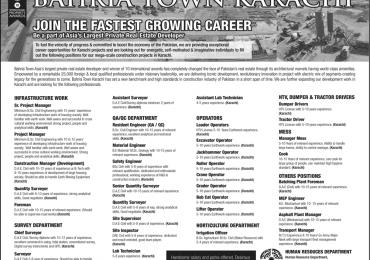 Bahria Town Karachi Jobs 2015