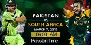 Pak Vs SA World Cup Match Live Score PTV Sports 7 Match 2015
