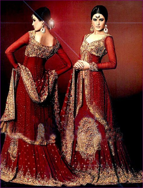 Pakistani bridal wedding dresses in red colour for Cheap pakistani wedding dresses