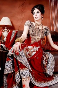 Pakistani Bridal Wedding Dresses in Red Colour