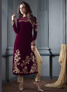 Pakistani Velvet Dresses 2019 Pics