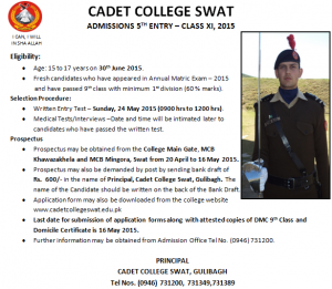 Admissions Open In Cadet College Swat 2015 Form Download Entry Test Result 1st Year