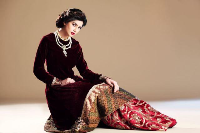 Pakistani Velvet Dresses 2018 Pics