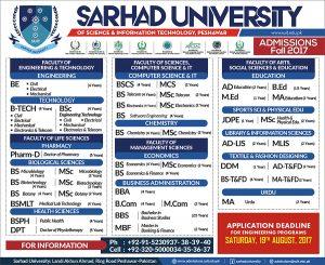 Sarhad University SUIT Peshawar Merit list 2018 for Engineering