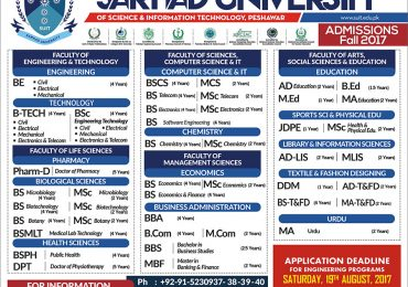 Sarhad University SUIT Peshawar Merit list 2018 for Engineering