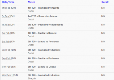 PSL 2016 Schedule Teams Time Table PDF Free Download