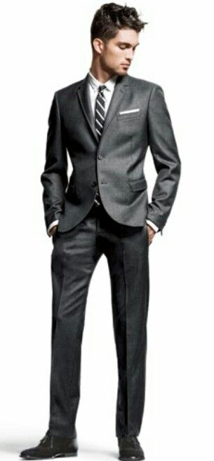 Charcoal Suit Brown Shoes Gq