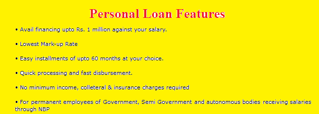 national bank of pakistan personal loan calculator