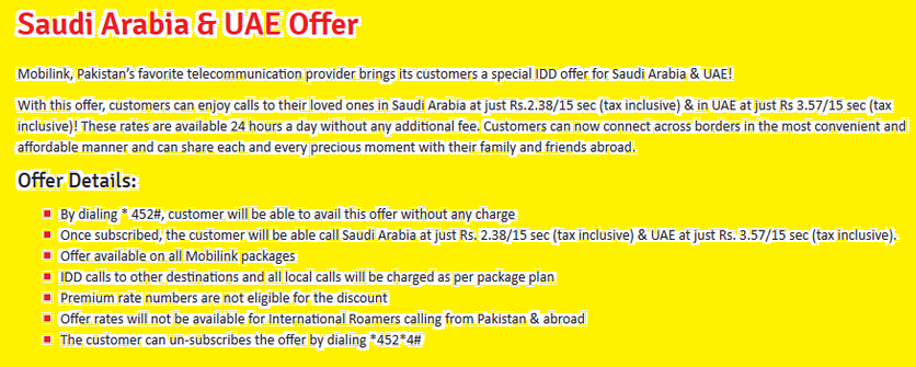 Telenor, Ufone, Jazz, Warid Saudi Arabia, UAE Call Package 2019