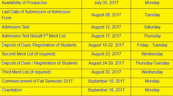 uni schedule
