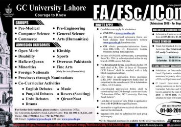 GCU Lahore FSC ICS Merit List 2020 Admission