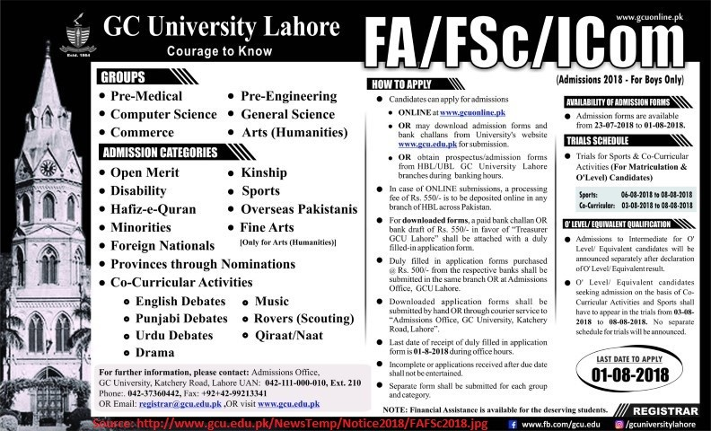 GCU Lahore FSC ICS Merit List 2019 Admission