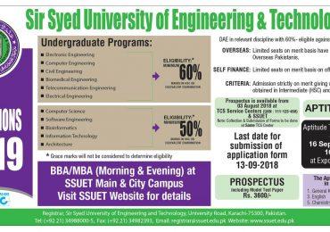 SSUET Merit List 2018 1st, 2nd Sir Syed University Admission 2019