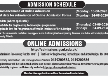 GCUF Fee Structure 2021 Government College University Faisalabad