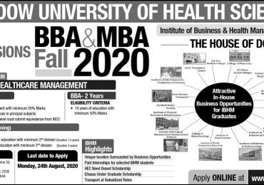 DUHS Dow University of Health Sciences Karachi Merit List 2021 Entry Test Result