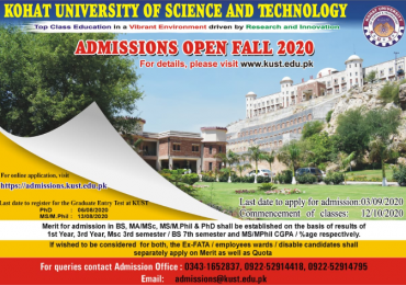 Kohat University of Science and Technology KUST Merit List 2020 1st 2nd 3rd General