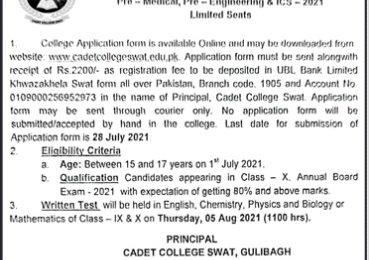 Cadet College Swat 1st Year Admission 2021 Form Entry Test Result