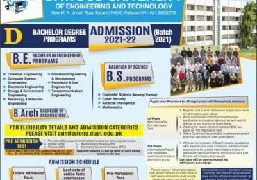Duet Merit List 2021 Dawood University of Engineering and Technology