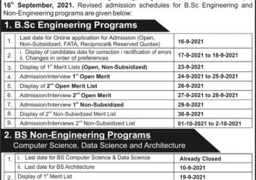 UET Peshawar 1st Final Open Merit List 2021 Electrical, Mechanical Engineering