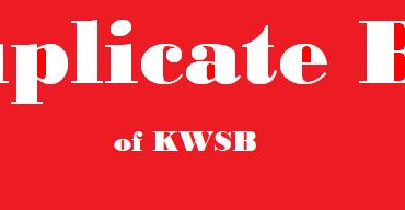 KWSB Duplicate Bill of Karachi Water and Sewerage Board